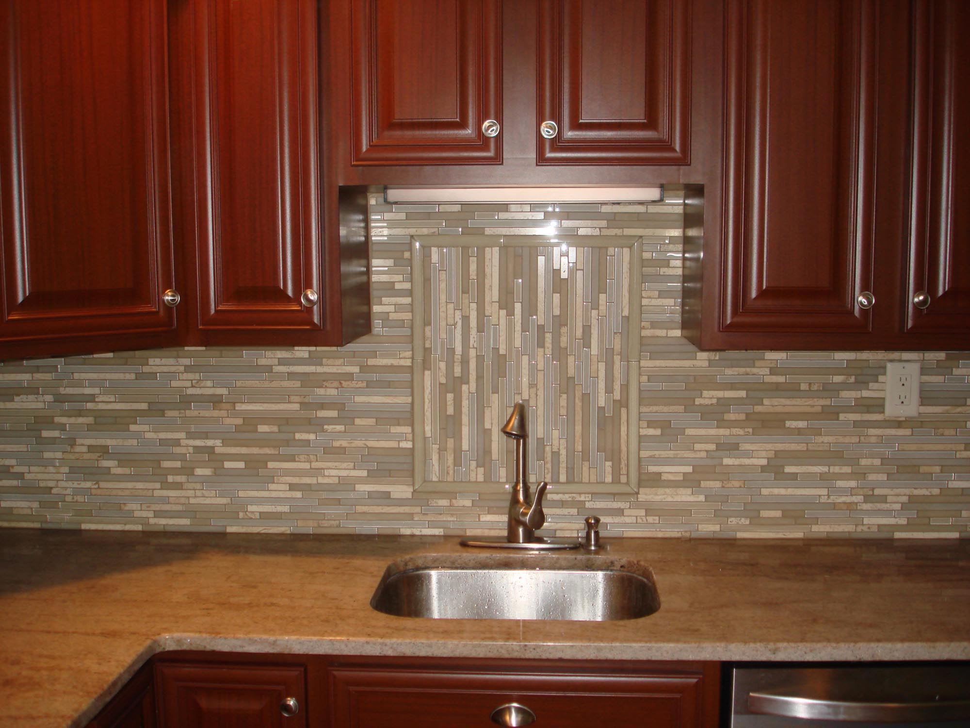 glass and stone backsplash with accent new jersey custom tile