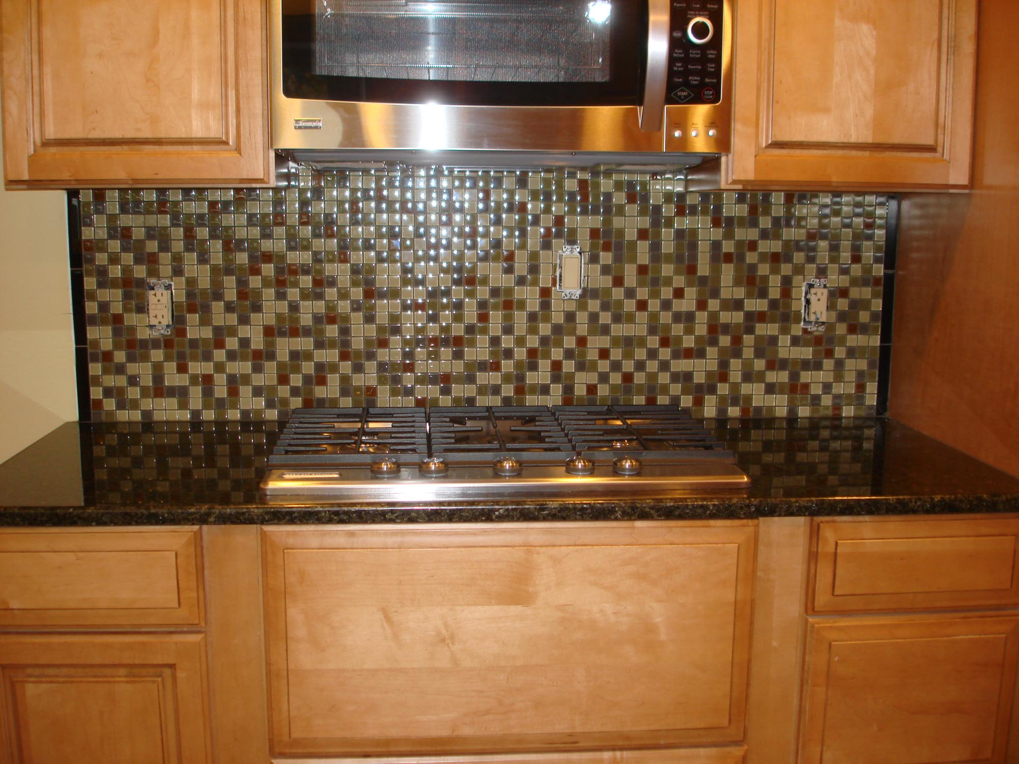 Glass Mossaic Kitchen Backsplash Front Stove View New Jersey Custom Tile