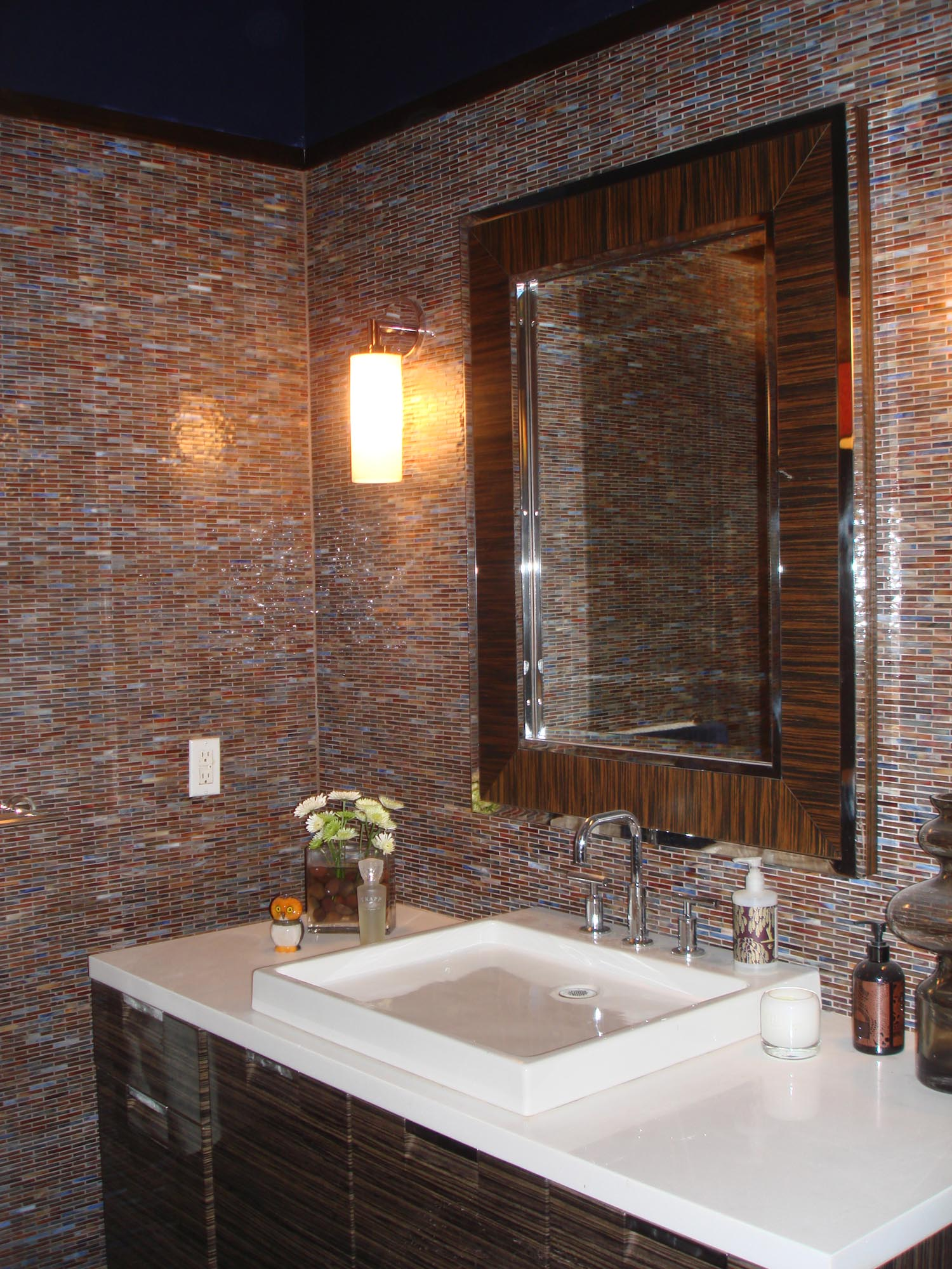 Glass mossaic tile bathroom with steam shower and niche   New Jersey ...