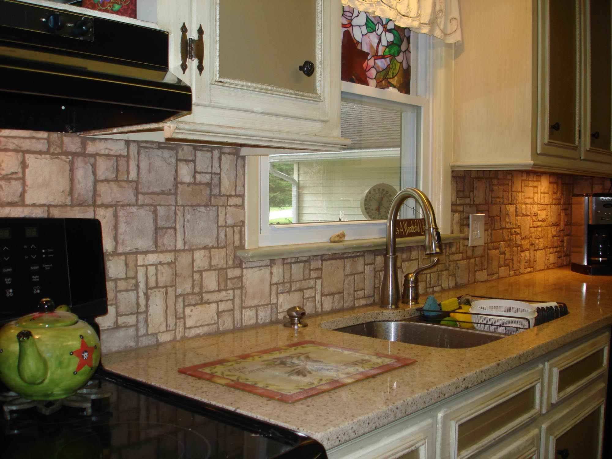 Mosaic Stone Pattern Backsplash Right View New Jersey