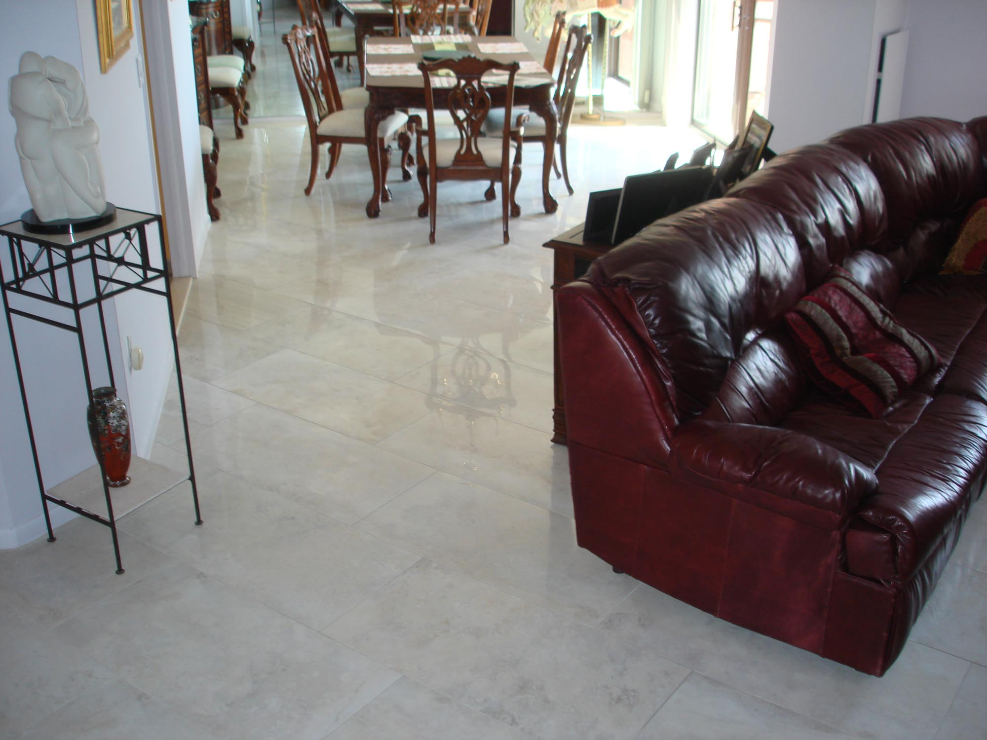 porcelain tile floor in dining room on diagonal 12 x 36 | new