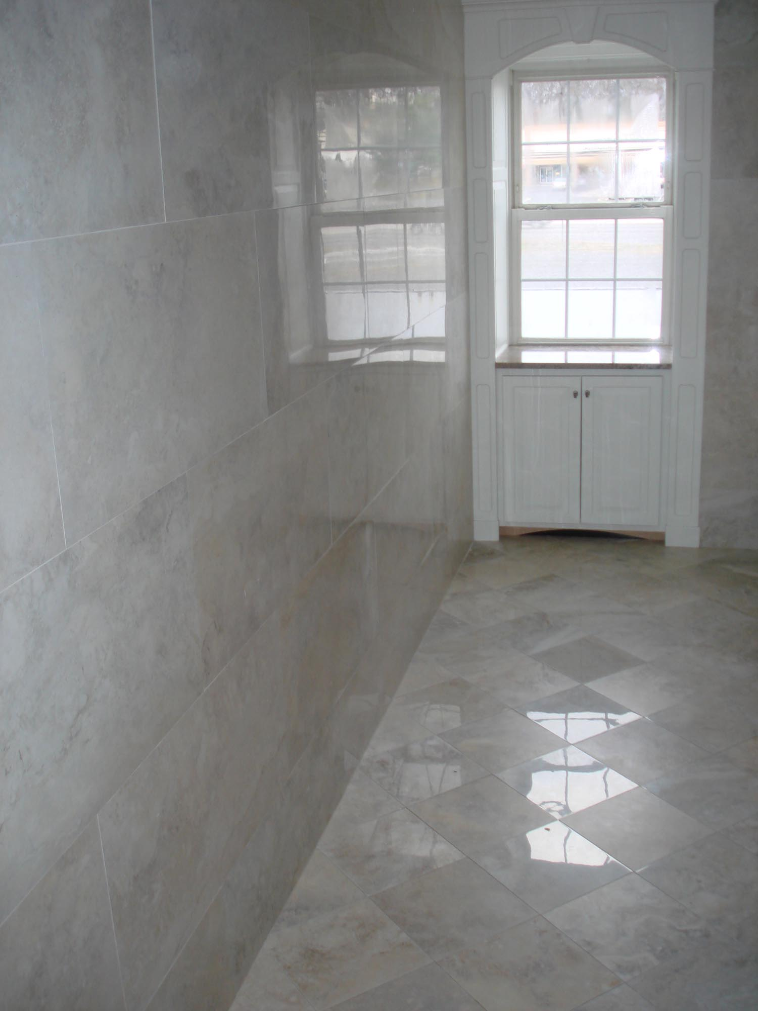 Porcelain Tile Restroom 18x36 On Walls And 12x12 Polished And Matte On Floor New Jersey Custom