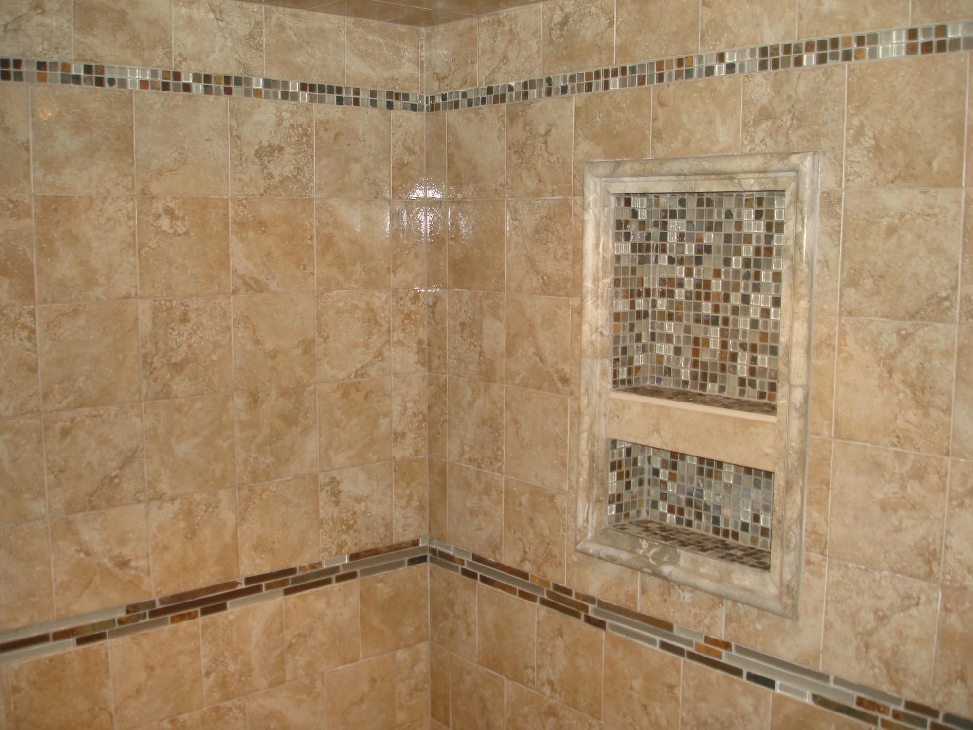 Porcelain Tile Shower With Glass And Slate Borders And Niche New Jersey Custom Tile