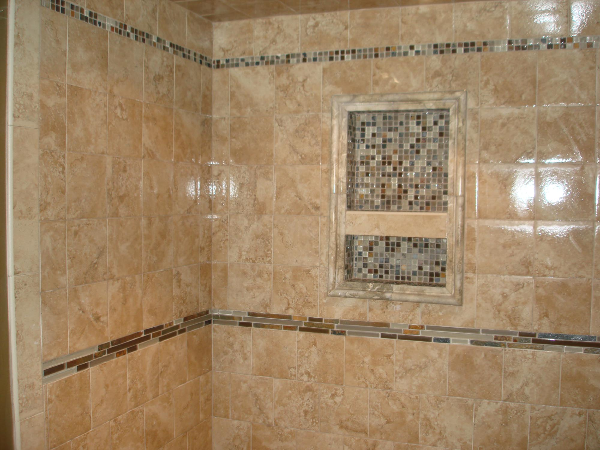Porcelain tile shower with glass and slate | New Jersey Custom Tile