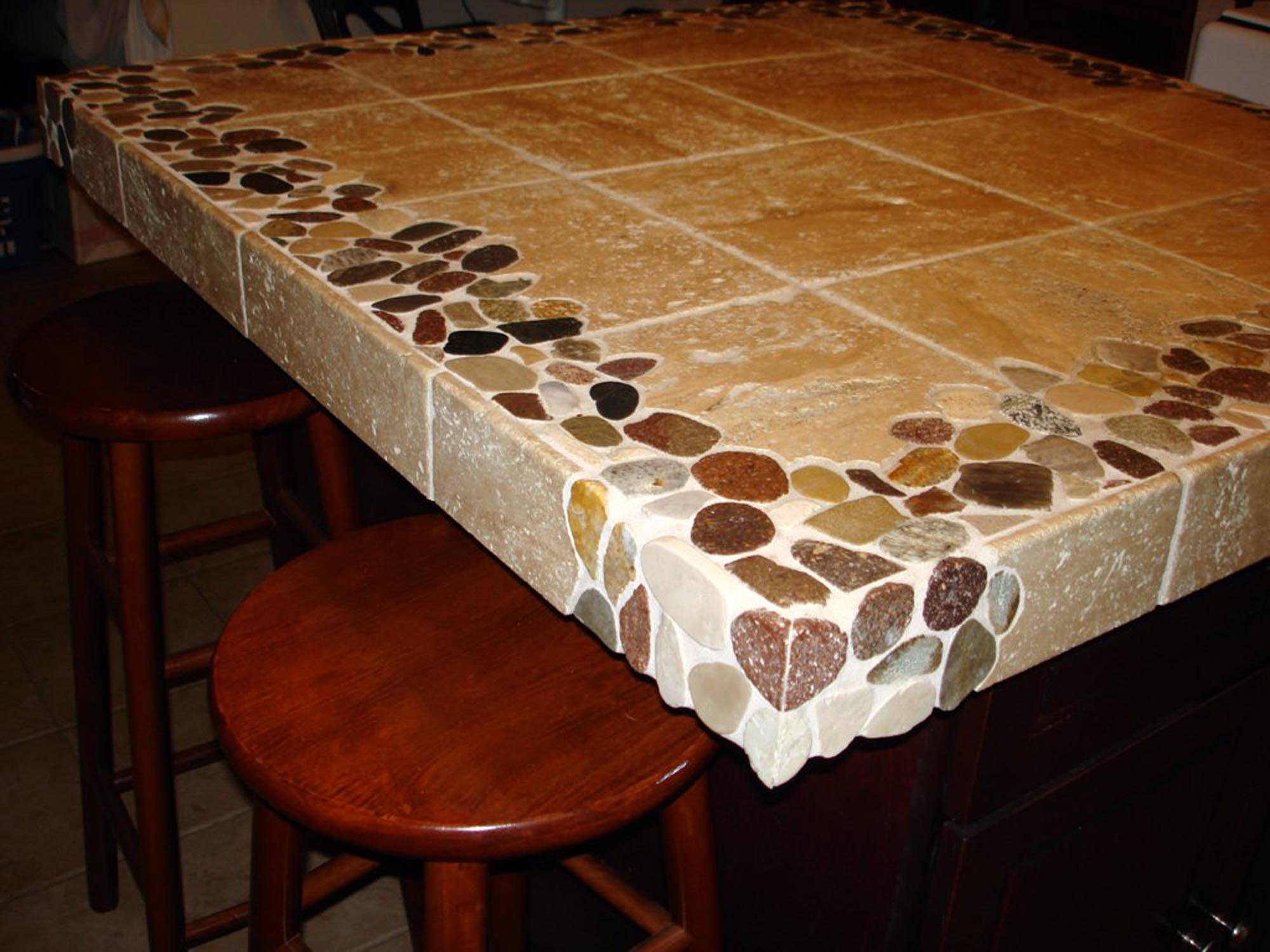 Riverstone And Travertine Custom 4 X4 Kitchen Island