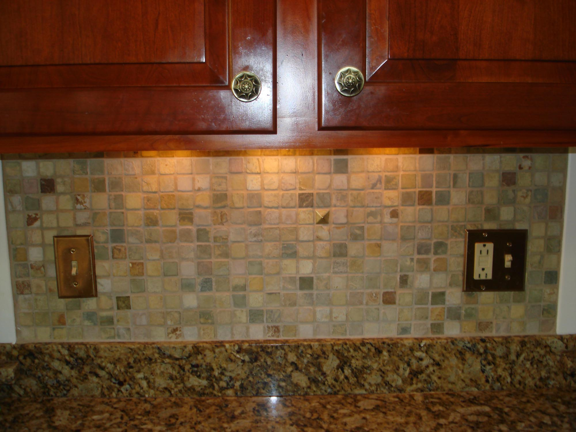 Stone mossaic backsplash with metal decos new jersey custom tile - Custom kitchen backsplash tiles ...