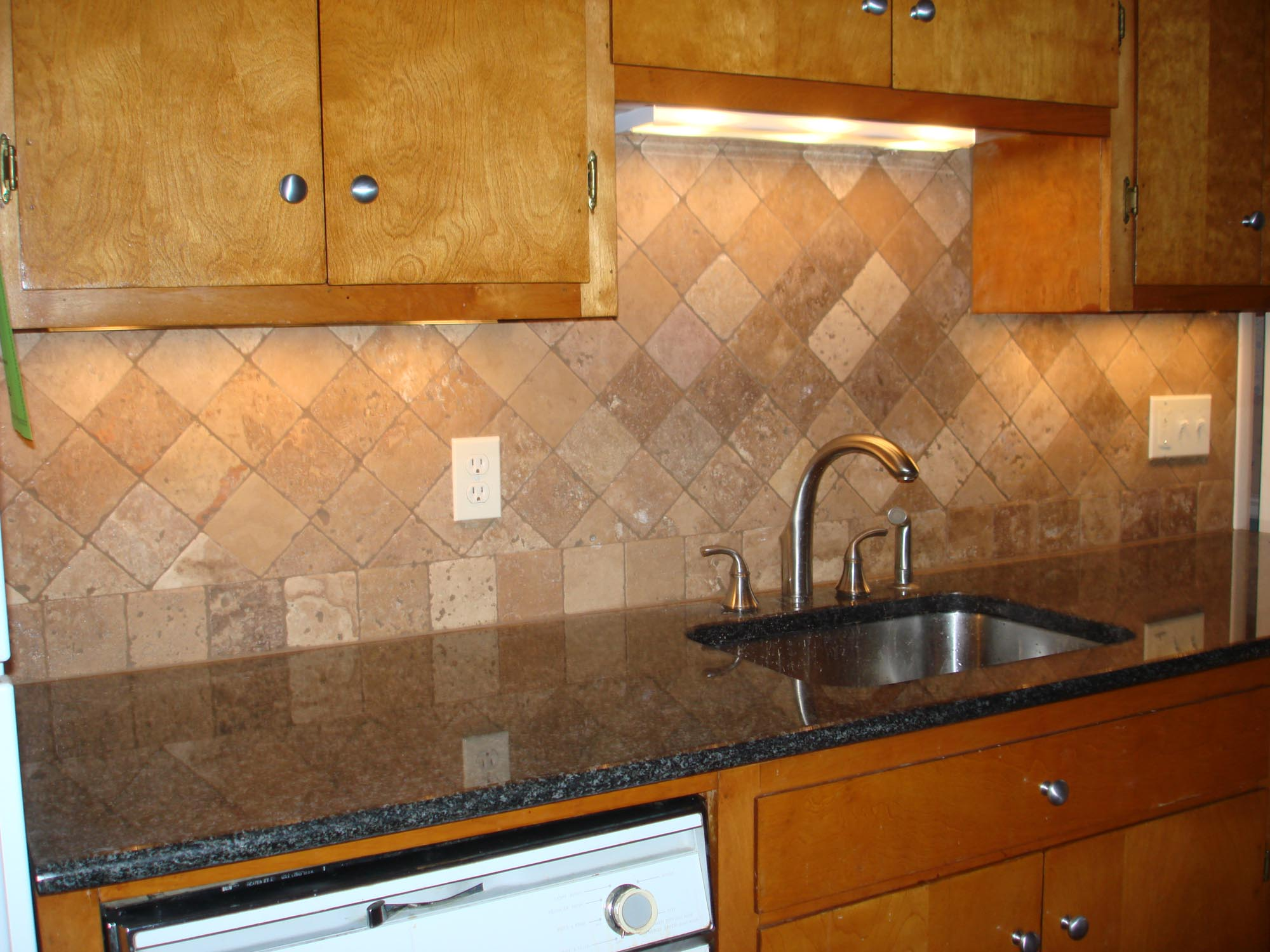 Tumbled travertine kitchen backsplash on diagonal new jersey custom tile - Custom kitchen backsplash tiles ...