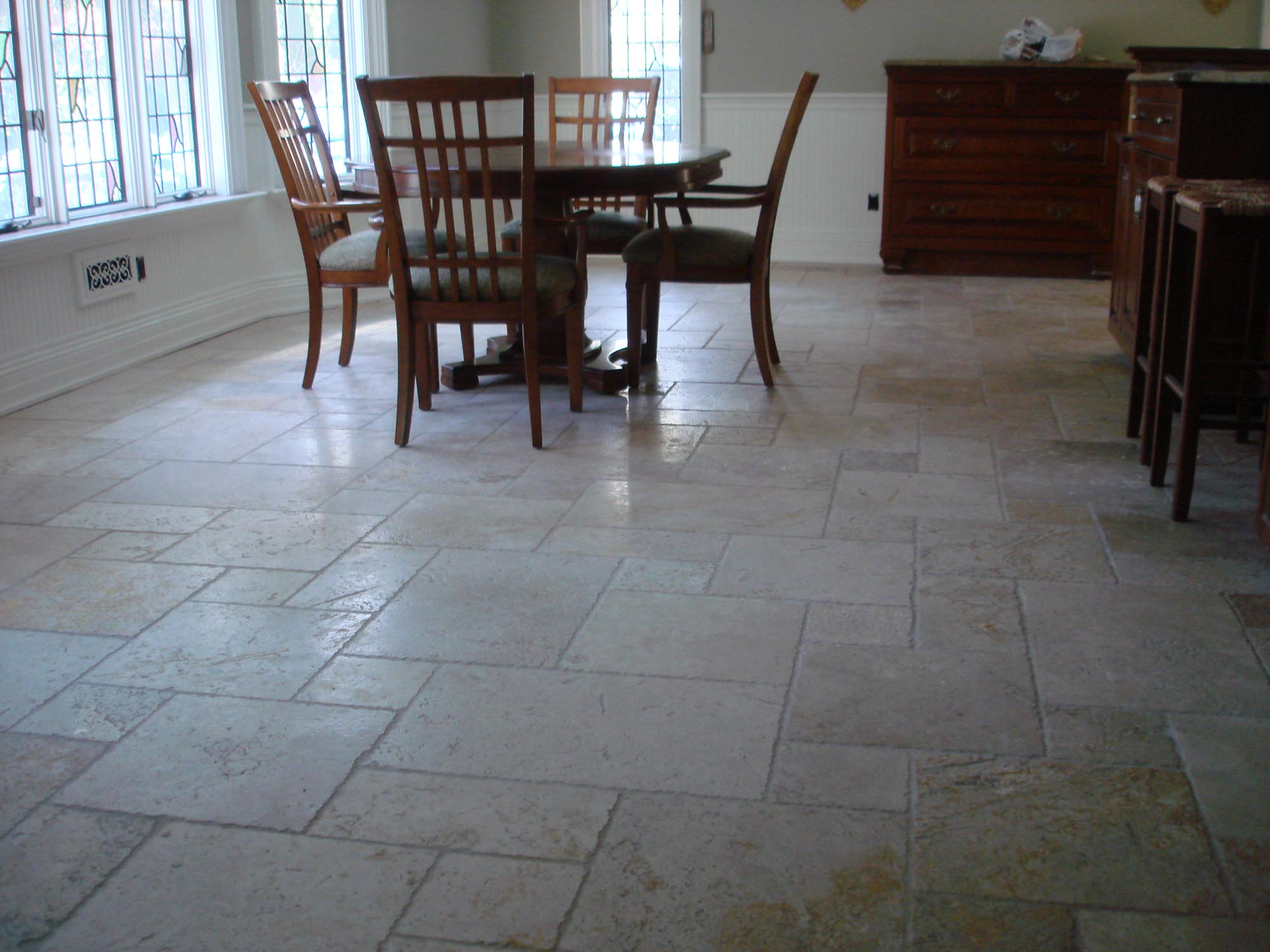 Tumbled marble floor in kitchen new jersey custom tile for Floors floors floors nj
