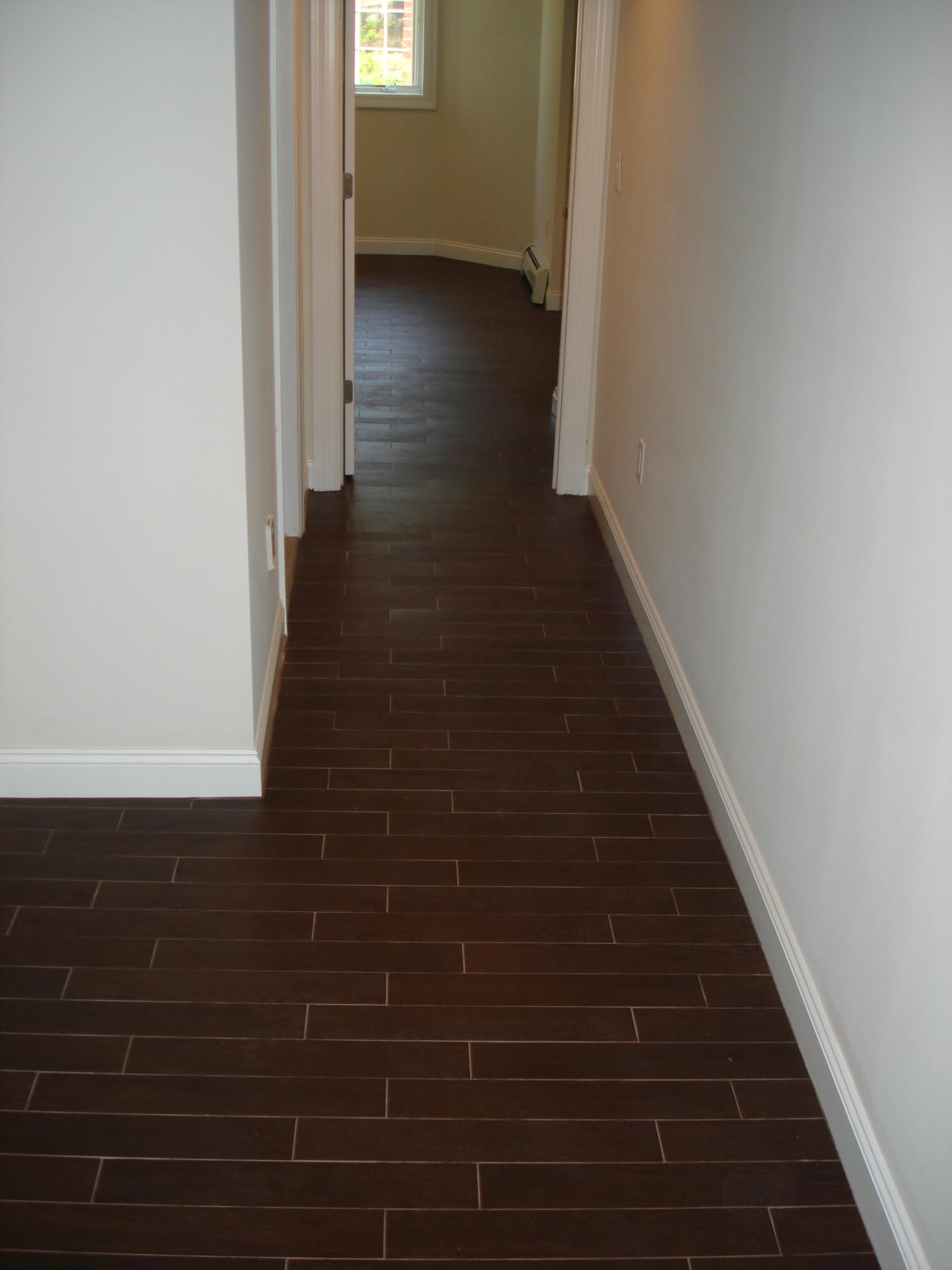 Wood Tile Floor Set On Thirds To Mimmic A Wood Floor