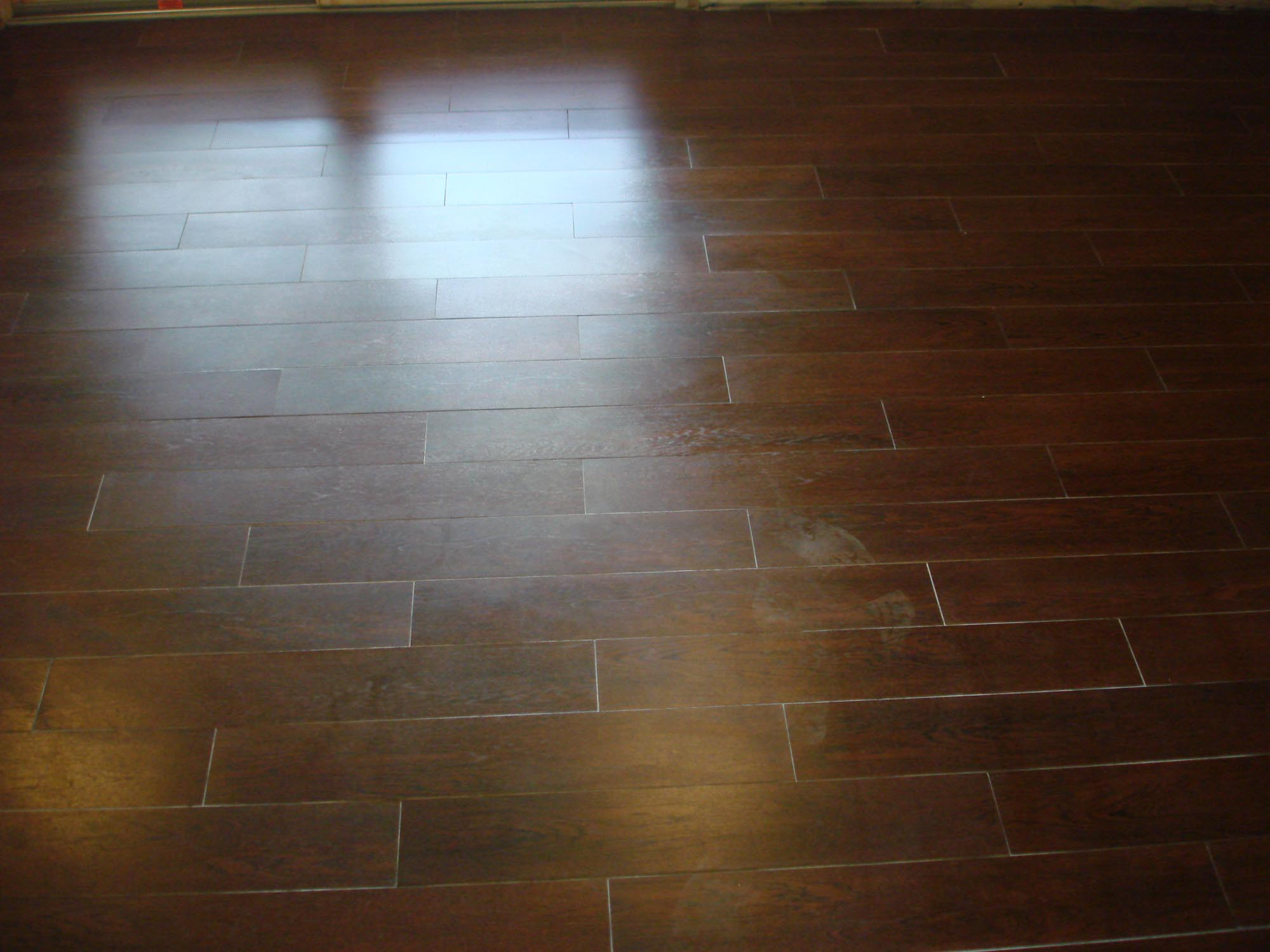 Wood tile floor set on thirds to mimmic a wood floor layout new wood tile floor set on thirds to mimmic a wood floor layout new jersey custom tile dailygadgetfo Choice Image