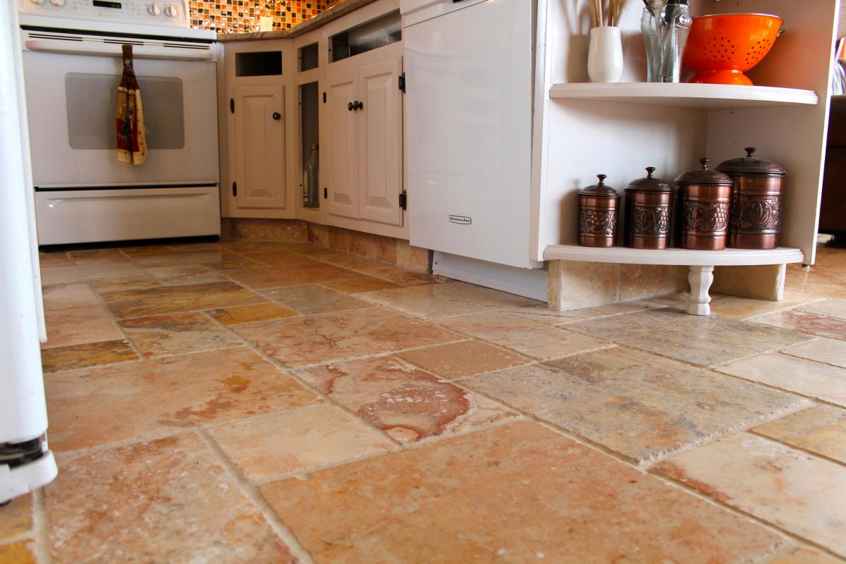 Marble kitchen floor and cabinet kicks | New Jersey Custom Tile