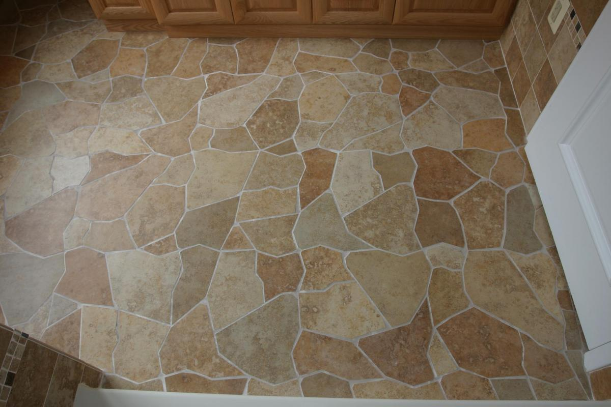 Broken Tile Pattern Porcelain Floor New Jersey Custom Tile