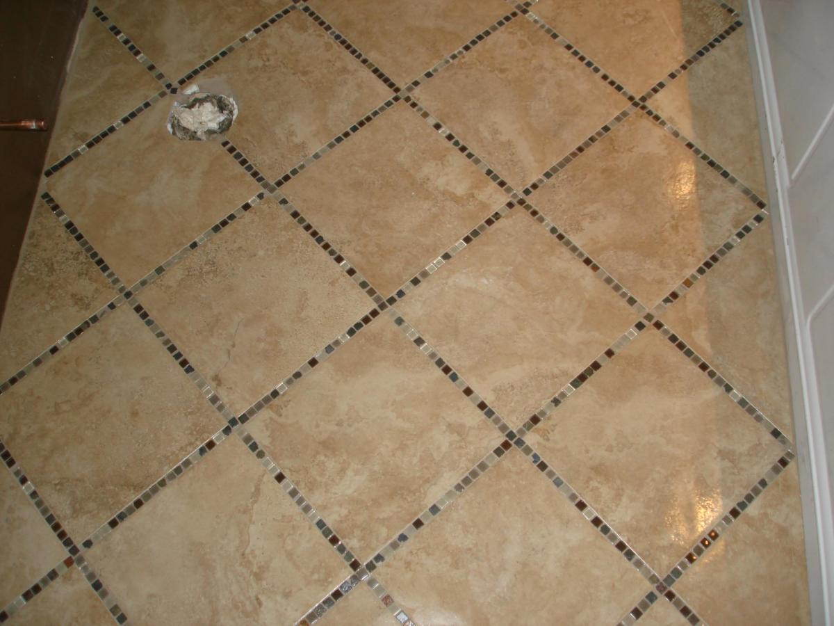 Porcelain tile floor with glass inlay new jersey custom tile for Ceramic tile patterns for bathroom floors