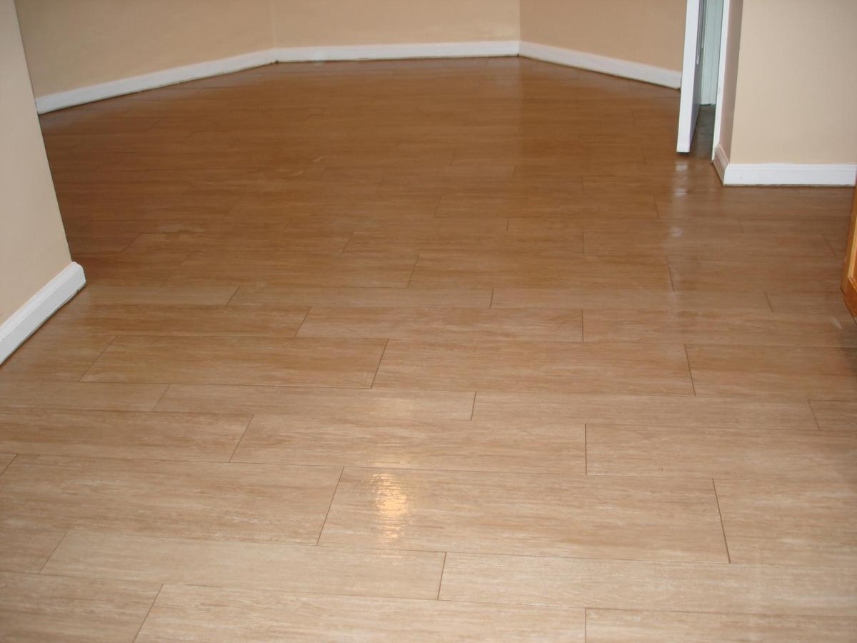 Wood tile kitchen floor new jersey custom tile for Tile and hardwood floor
