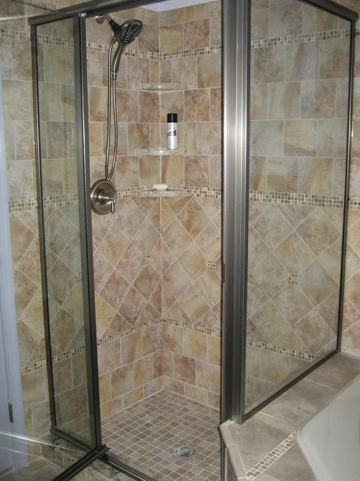 Completed Porcelain Tiled Shower With Marble Corner Shampoo Shelves New Jersey Custom Tile