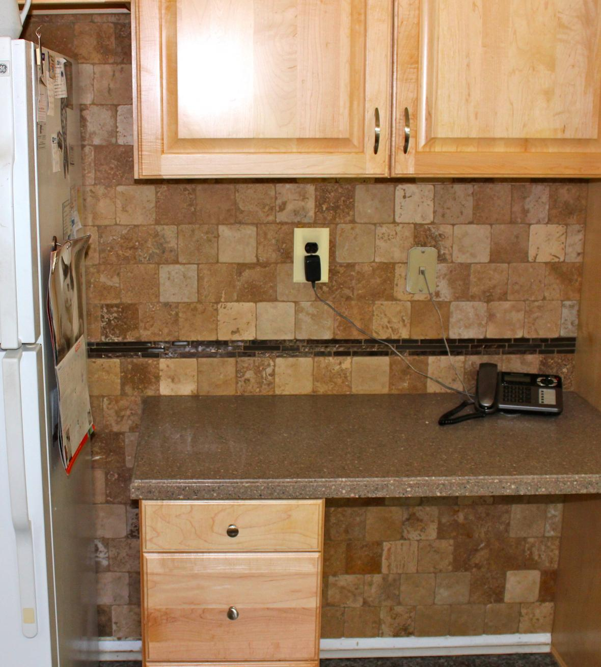 Backsplash behind fridge new jersey custom tile - Custom kitchen backsplash tiles ...