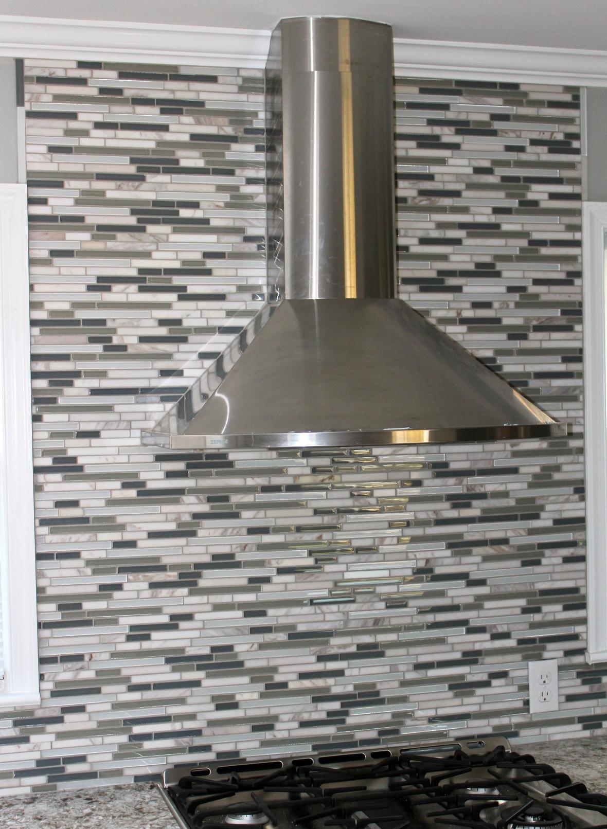 Glass And Marble Mosaic Kitchen Backsplash