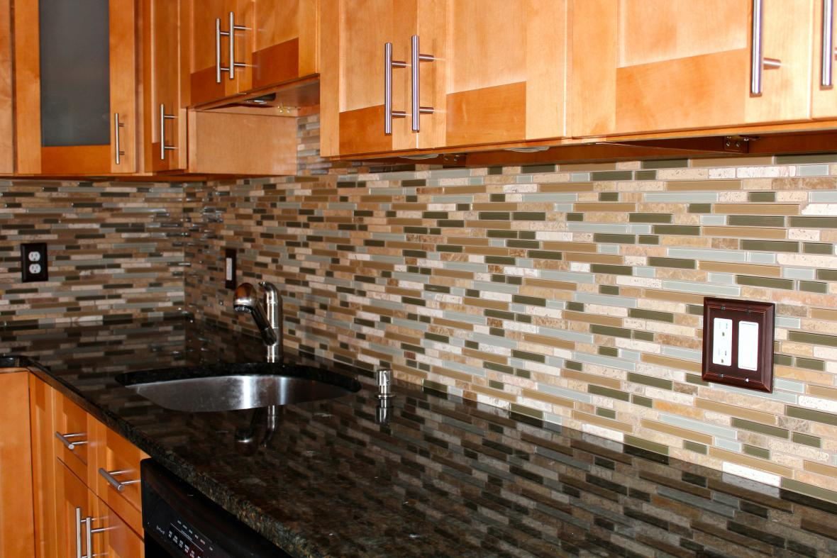 Read more about Glass and stone mosaic backsplash