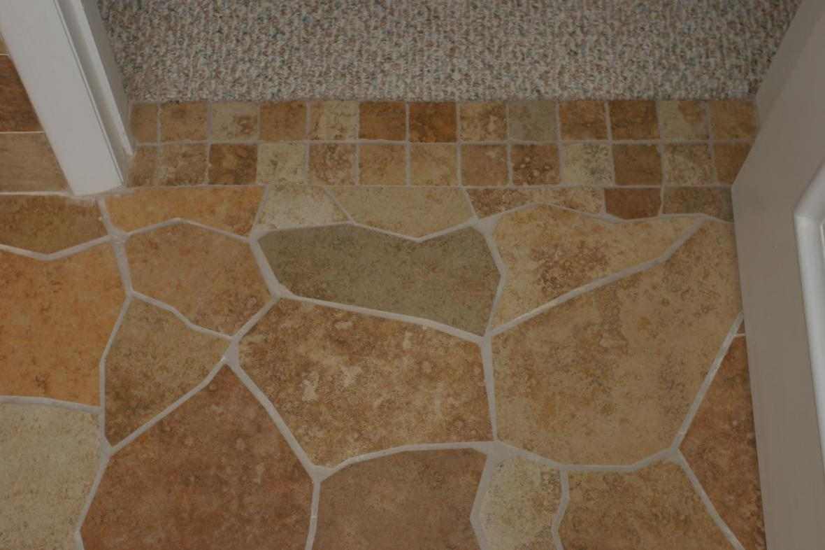 Broken tile pattern porcelain floor doorway
