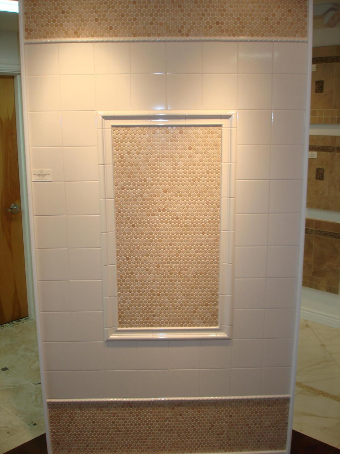 Ceramic mossaics and white 6x6 tile display