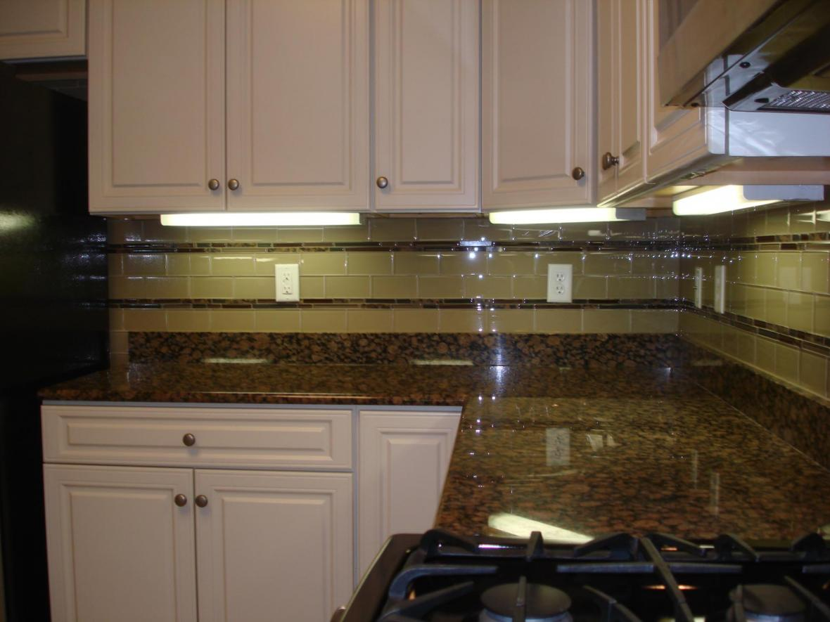 Glass 3x6 Kitchen Tile Backsplash With Two Granite And