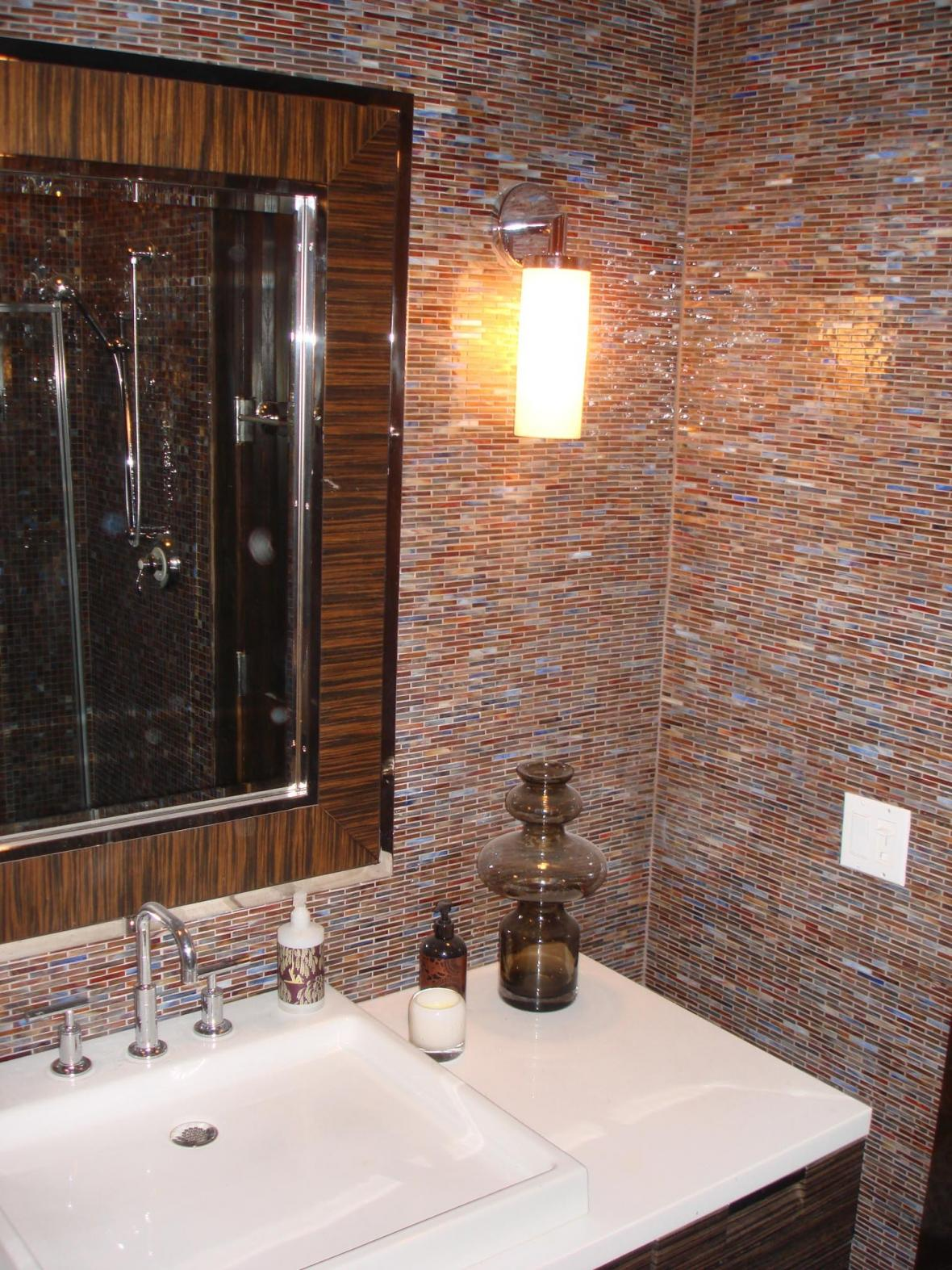 Glass mossaic tile bathroom vanity wall
