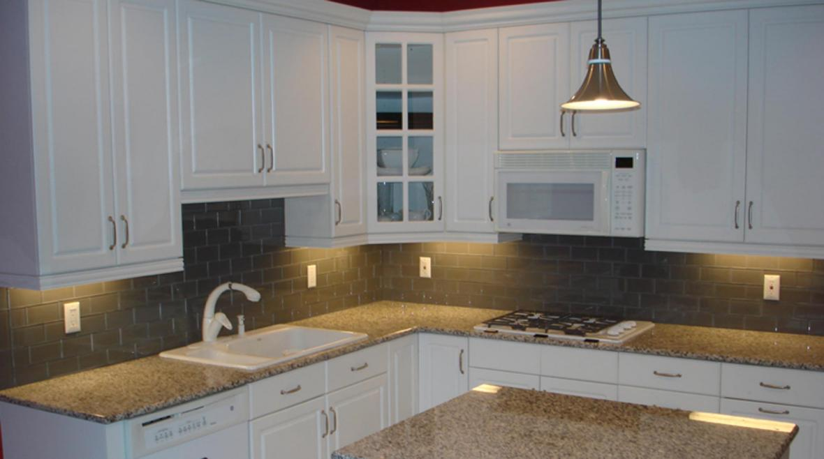 read more about 3x6 lunar gray medium clear glass kitchen backsplash