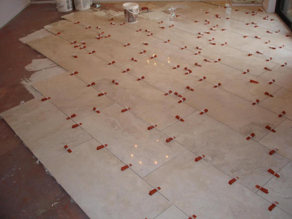 Installation on porcelain tile in dining room