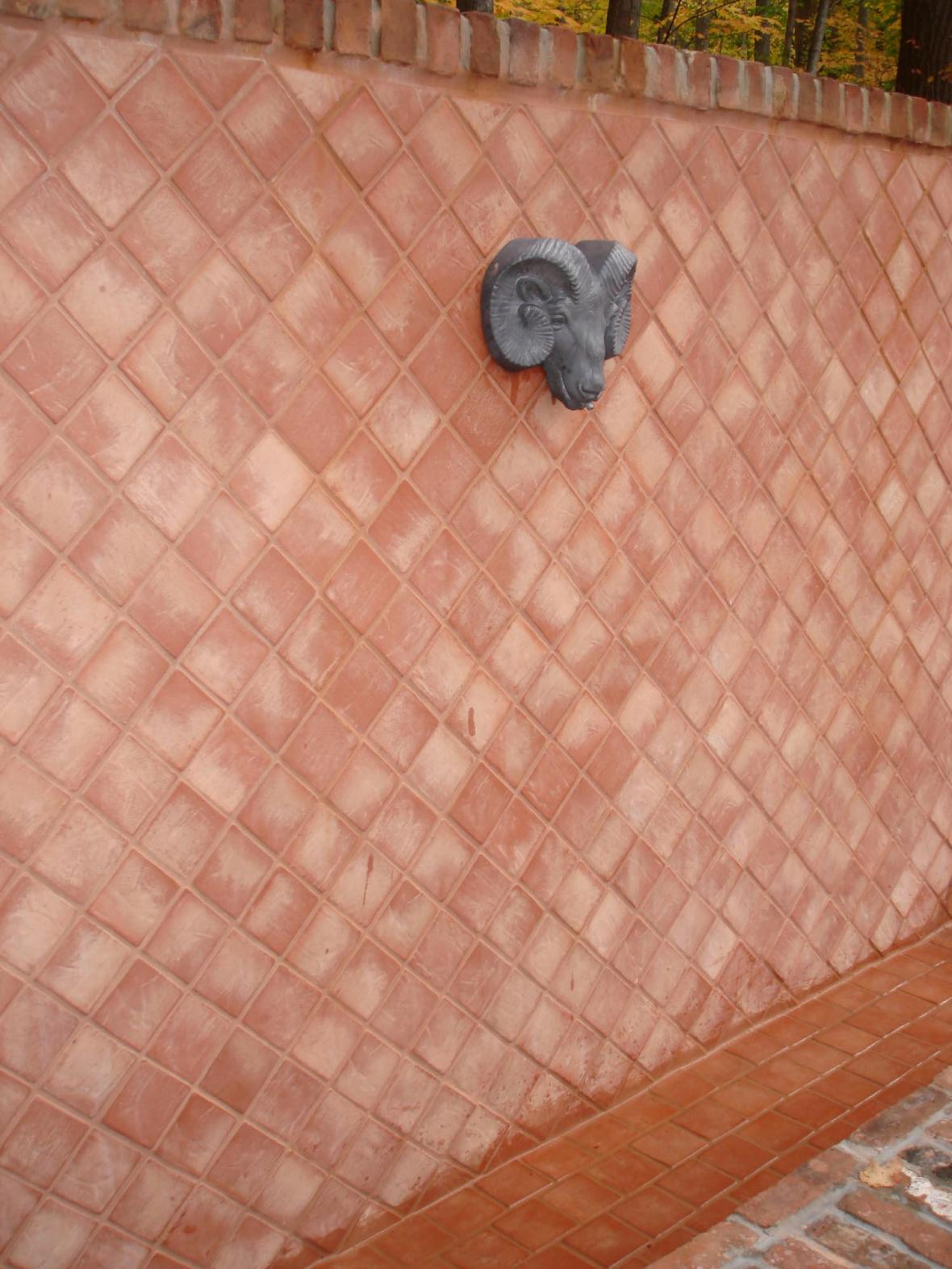 Left view of diagonal clay tile fountain