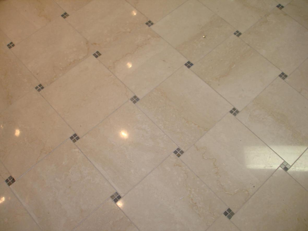 Marble 12x12 tile with 5/8 decos pinwheel pattern