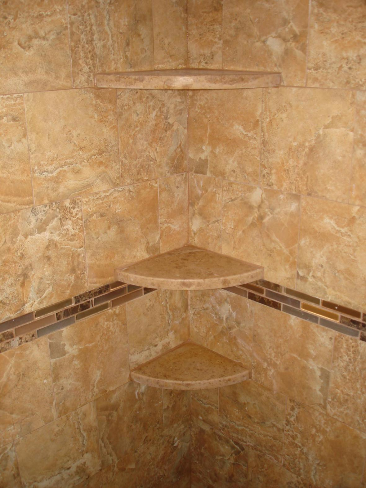 Marble Shampoo shelves in new tile shower