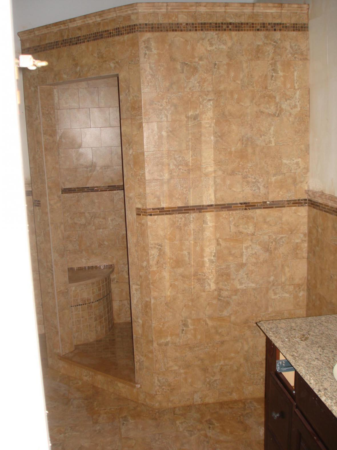 New tile shower in master bath | New Jersey Custom Tile