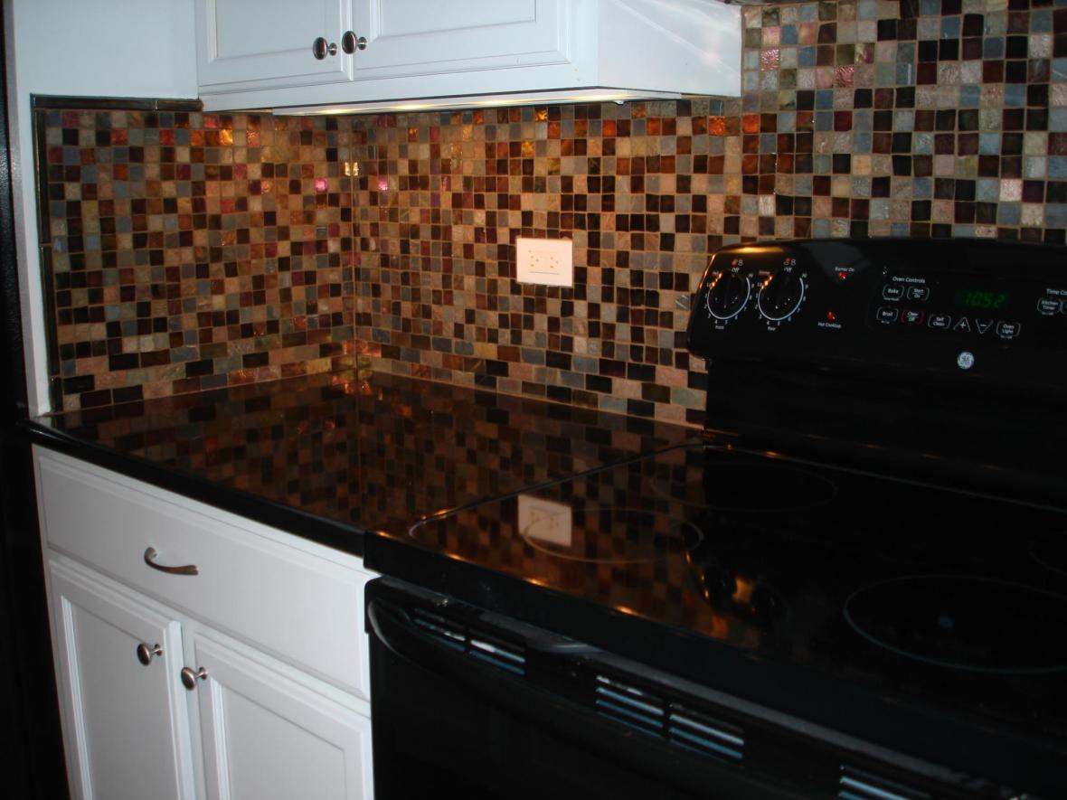 Closeup Glass Kitchen Backsplash