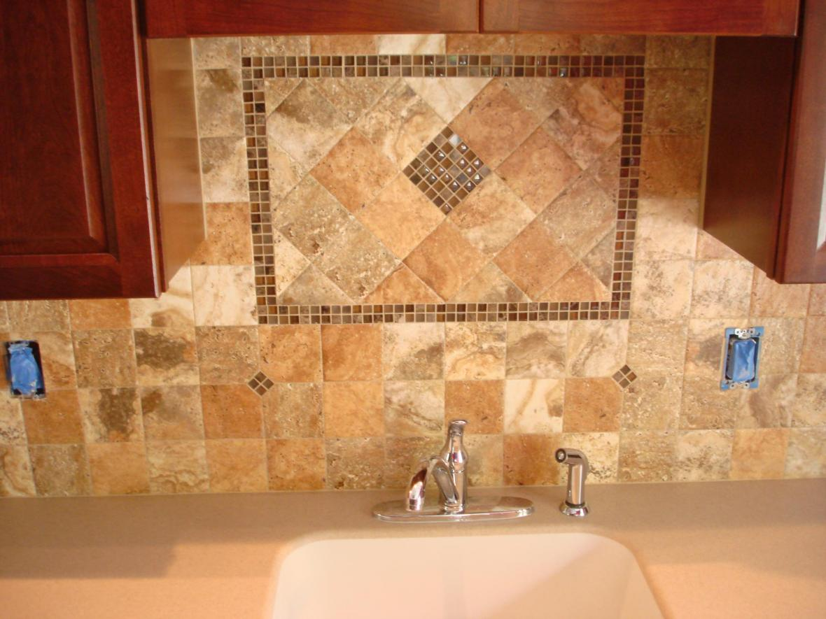 orcelain 4x4 kitchen backsplash with 5 8 glass tile inserts and accent behind the sink orcelain 4x4 kitchen backsplash with 5 8 glass tile inserts and      rh   njcustomtile com