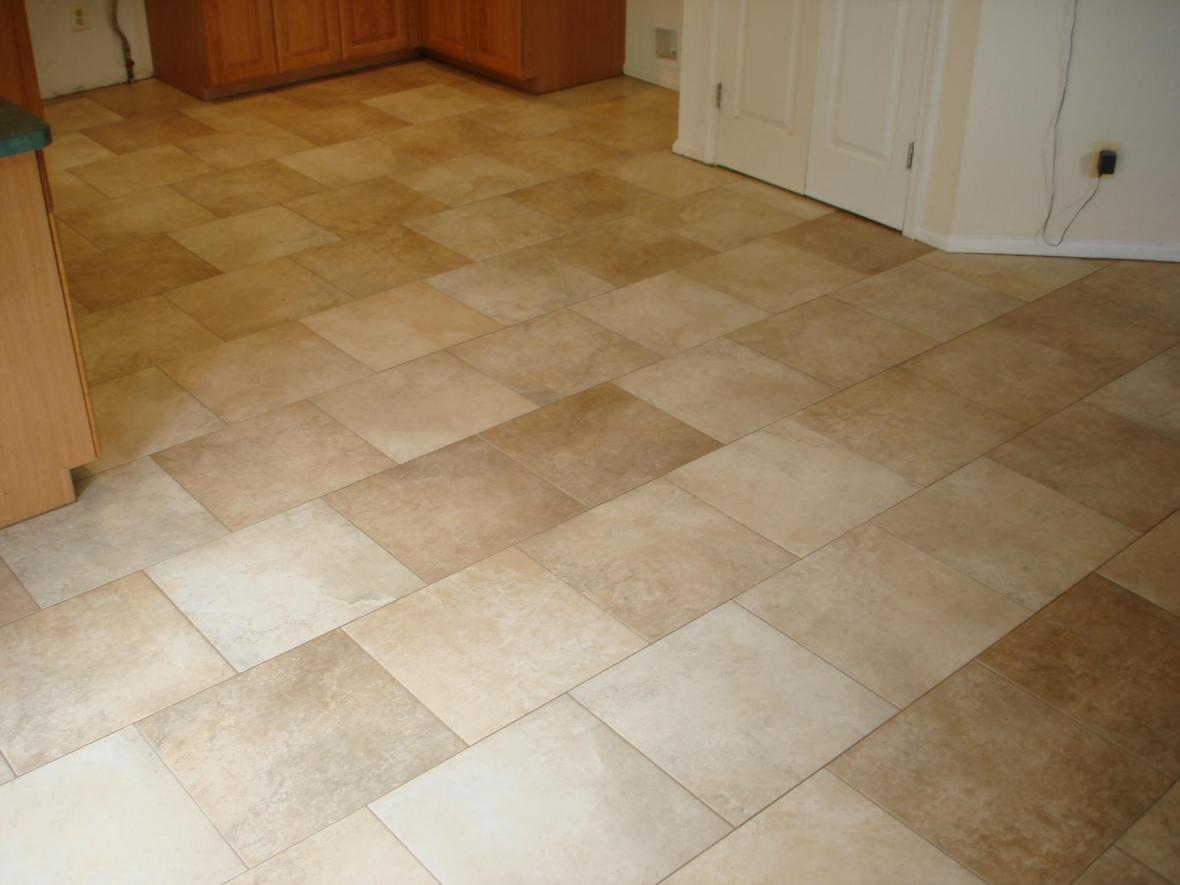 Porcelain kitchen tile floor on a brick pattern | New Jersey Custom Tile