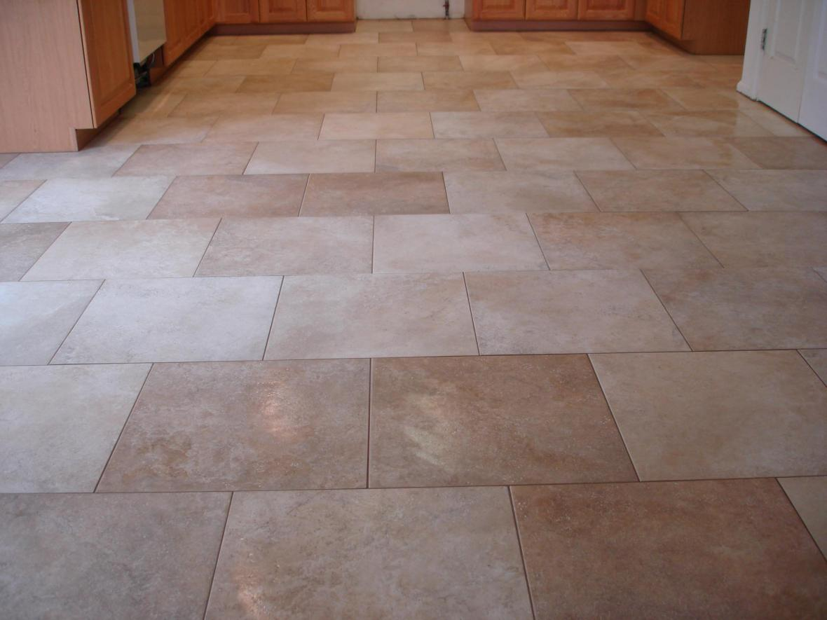 Kitchen floor tiles layout on pinterest for Tile patterns for kitchen floor