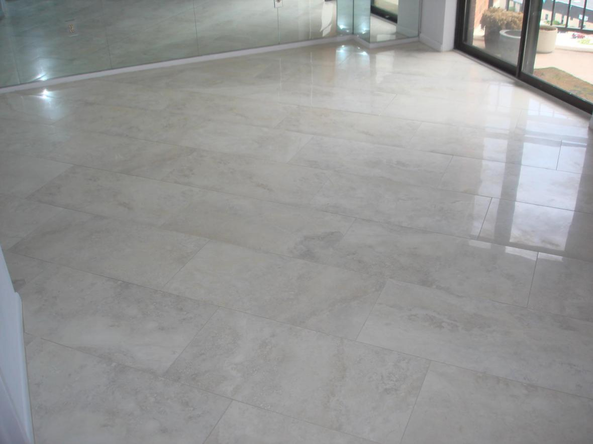 Porcelain tile floor in dining room
