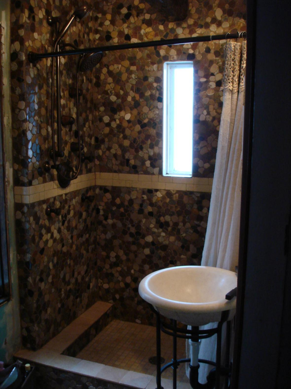 River Stone And Tumbled Marble Shower New Jersey Custom Tile