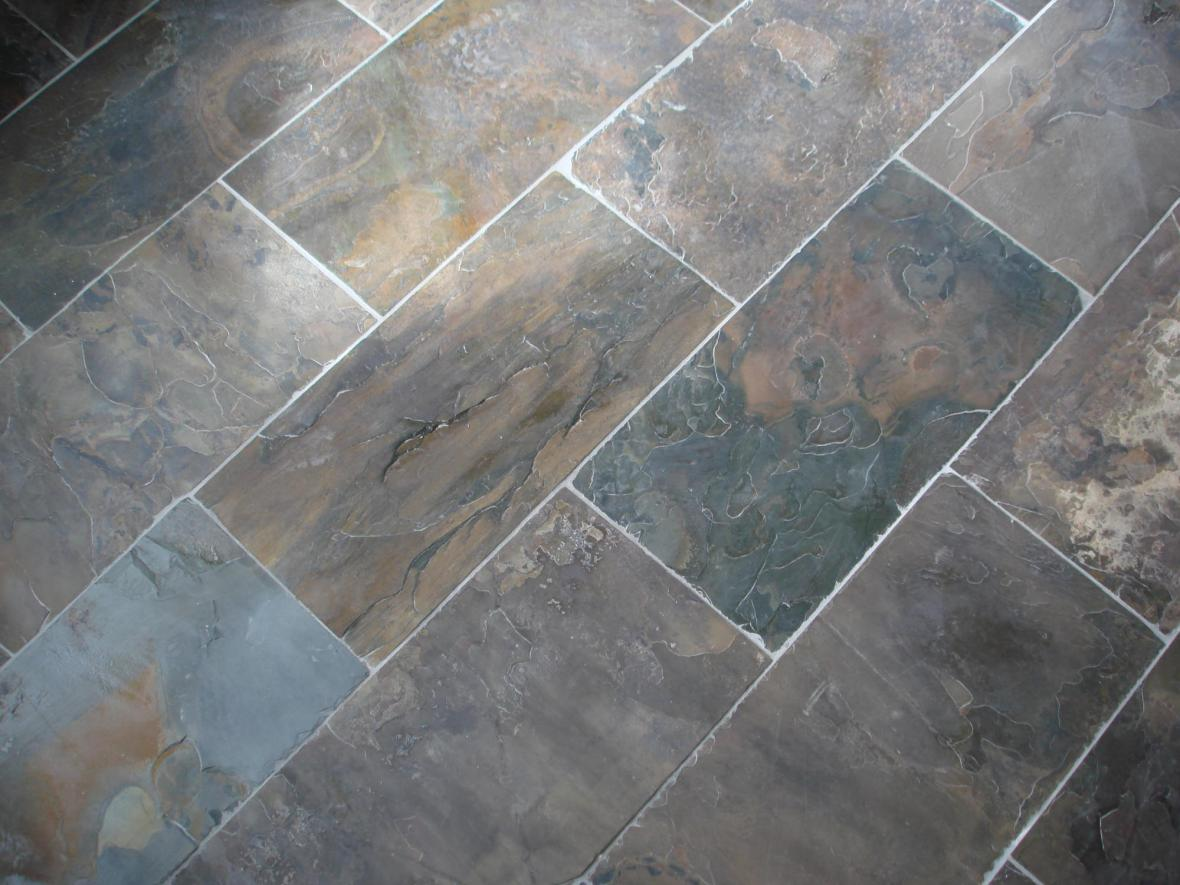 Slate tile floor display