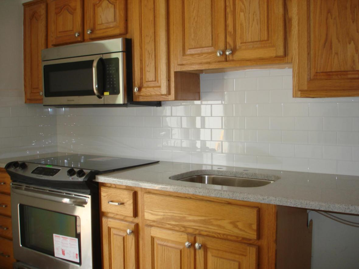 Clean And Simple Kitchen Backsplash White 3x6 Subway Tile And Bright White Grout New Jersey Custom Tile