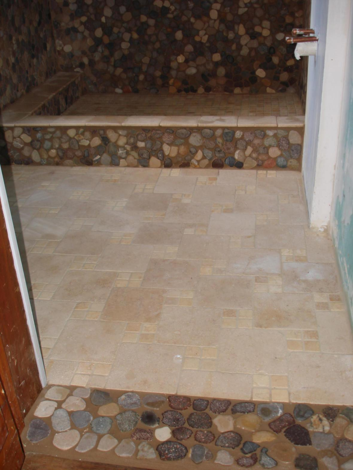 Tumbled Marble And River Stone Bathroom Floor And Shower New Jersey Custom Tile
