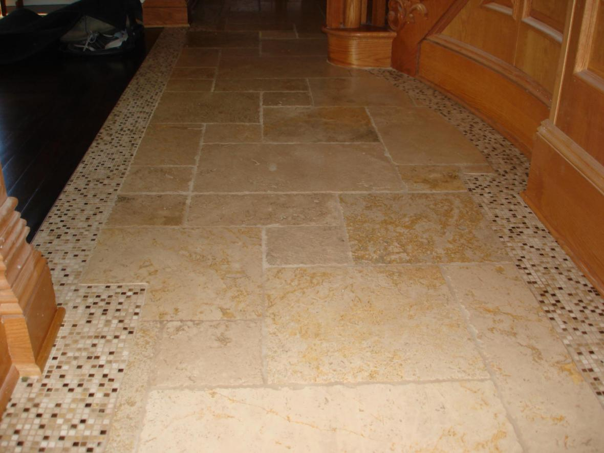 Tumbled Marble With Mosaic Border In Foyer New