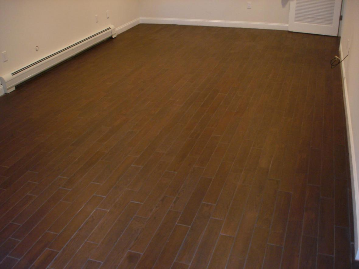 Wood porcelain tile floor