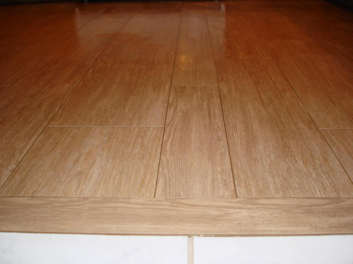 Wood tile kitchen floor transition new jersey custom tile for Hardwood floor tile kitchen