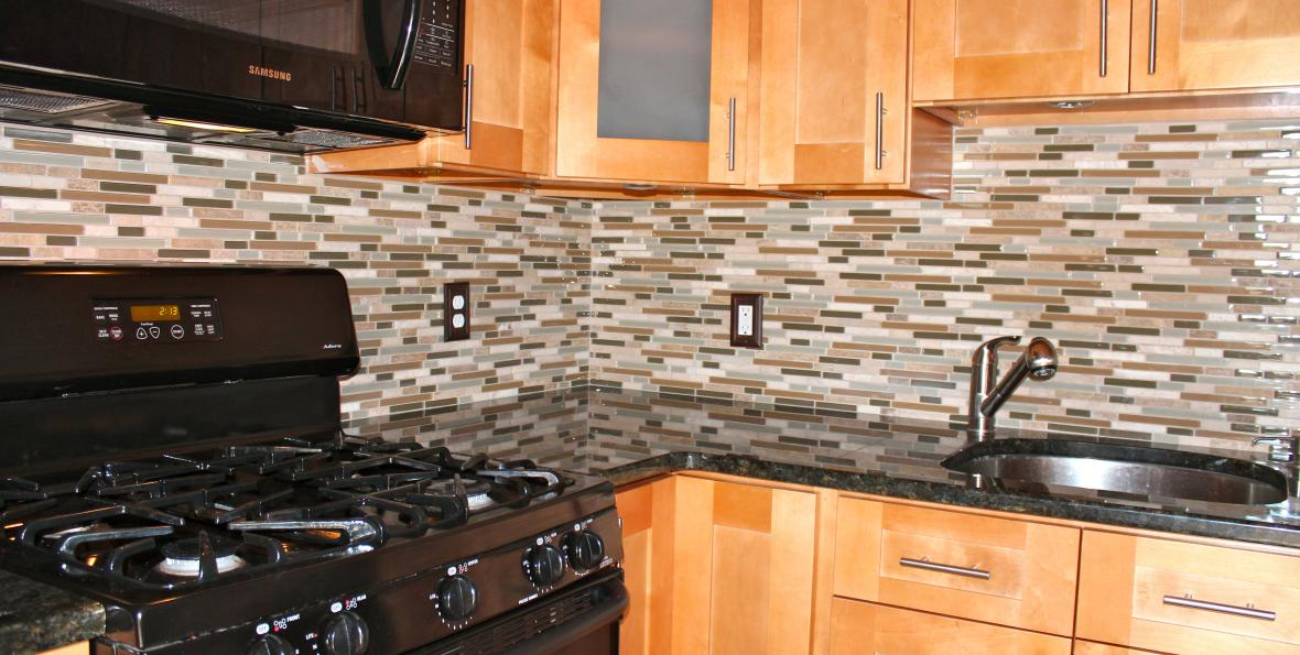 Mosaic glass marble backsplash new jersey custom tile - Custom kitchen backsplash tiles ...