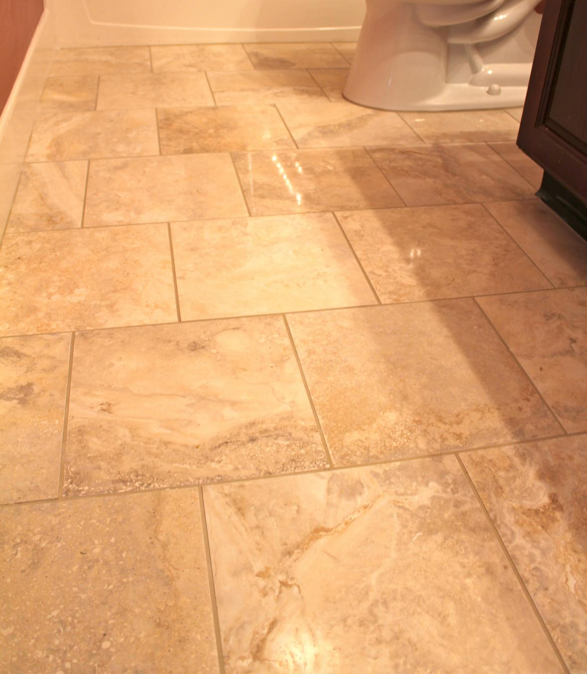 white marble and diagonal floor tile pattern from the slo bathroom - Tile Designs For Bathroom Floors