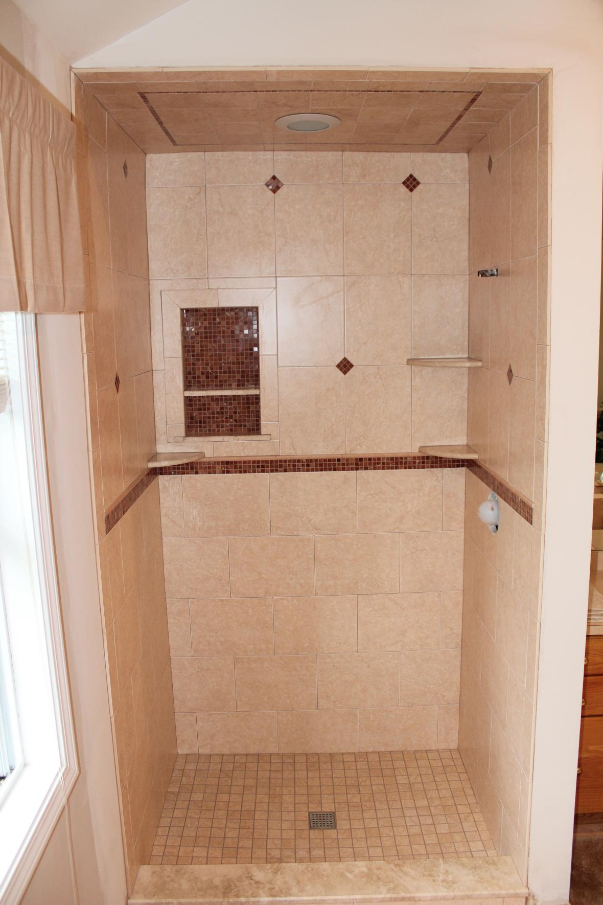 Porcelain Tile Shower With Marble Mosaic Part 94