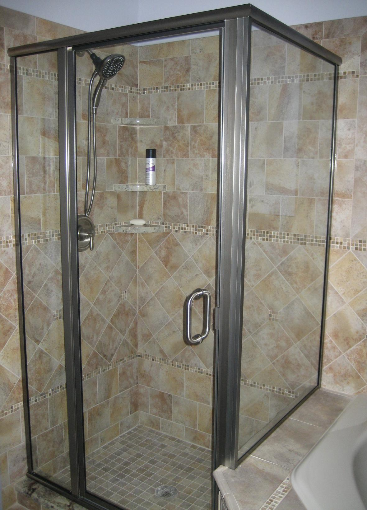 Porcelain tile shower with multiple patterns | New Jersey Custom Tile