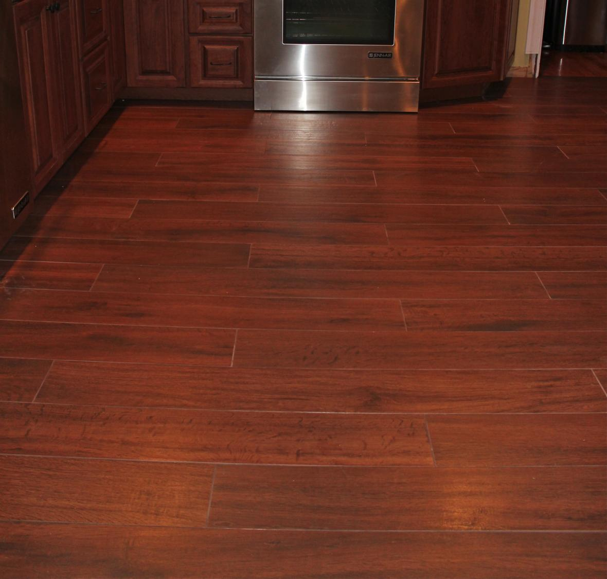 Porcelain wood plank tile floor new jersey custom tile for Hardwood floor tile kitchen