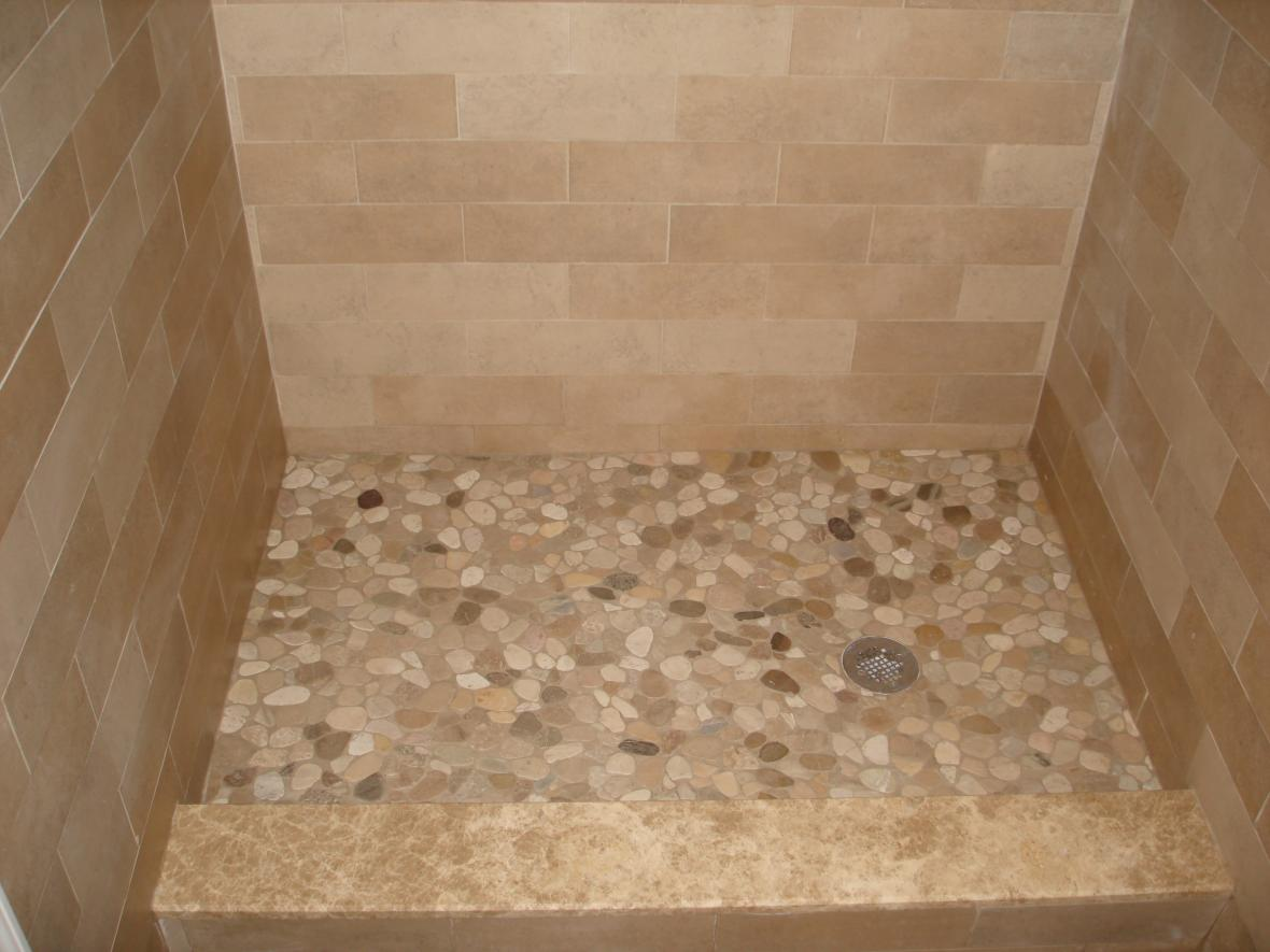 Porcelain Tile Shower With Multiple Patterns River Stone Shower Floor